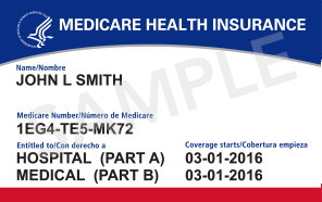 Image of a sample new medicare ID card