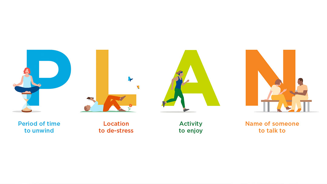 The word PLAN with illustrations of yoga, reading a book, exercise and talking